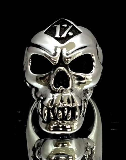 Sterling silver men's Biker ring One Percent symbol on Zombie Skull high polished and antiqued 925 silver