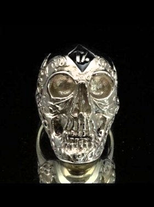 Sterling silver Biker ring One Percent symbol on Tattoo Outlaw Skull with Black enamel 925 silver