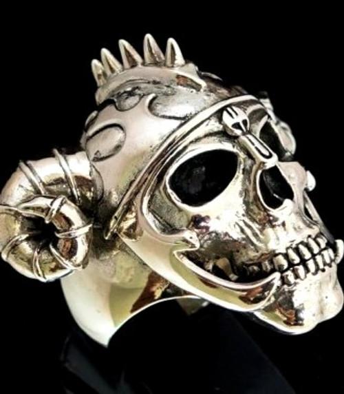 Huge Sterling silver Skull ring Ram Horned Viking Warrior high polished and antiqued 925 silver