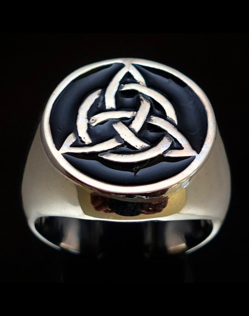Sterling silver Wicca ring Celtic infinity Knot Triquetra ancient Pagan symbol Ireland with Black enamel 925 silver