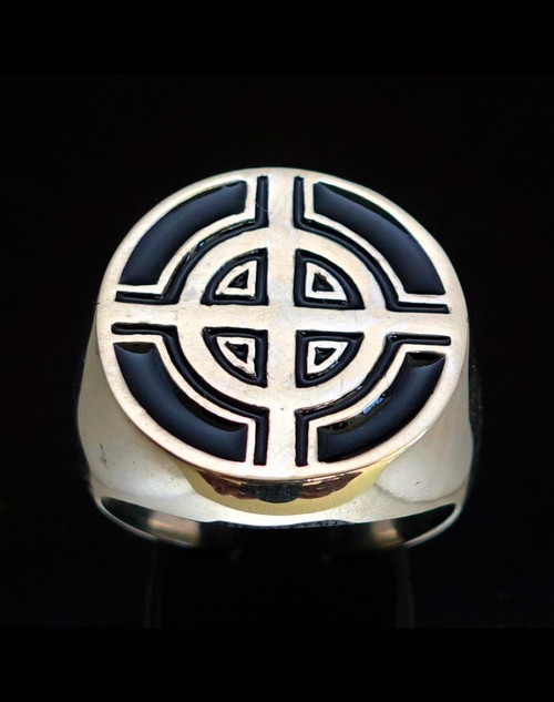 Sterling silver ancient symbol ring Celtic Ringed Cross medieval Ireland with Black enamel 925 silver