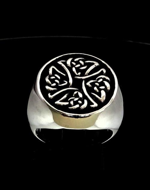 Antiqued Sterling silver ancient symbol ring Birgit's Cross Celtic knot high polished 925 silver