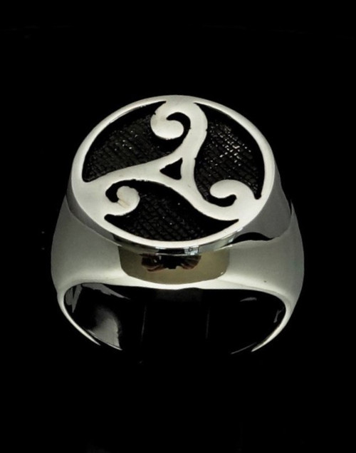 Antiqued Sterling silver ancient symbol ring Triple Spiral Celtic Water Triad Triskele high polished 925 silver