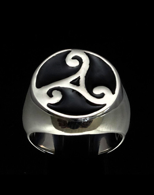 Sterling silver ancient symbol ring Triple Spiral Celtic Water Triad Triskele with Black enamel high polished 925 silver