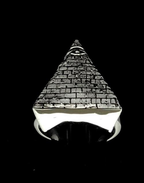 Sterling silver Illuminati ring Eye of Ra on Pyramid Freemason Masonic symbol 925 silver