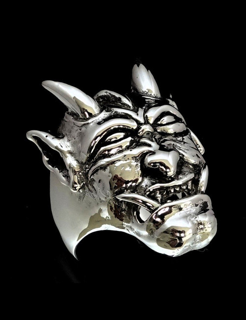 Sterling silver Hannya ring Japanese Noh theater Horned laughing Demon high polished and antiqued 925 silver
