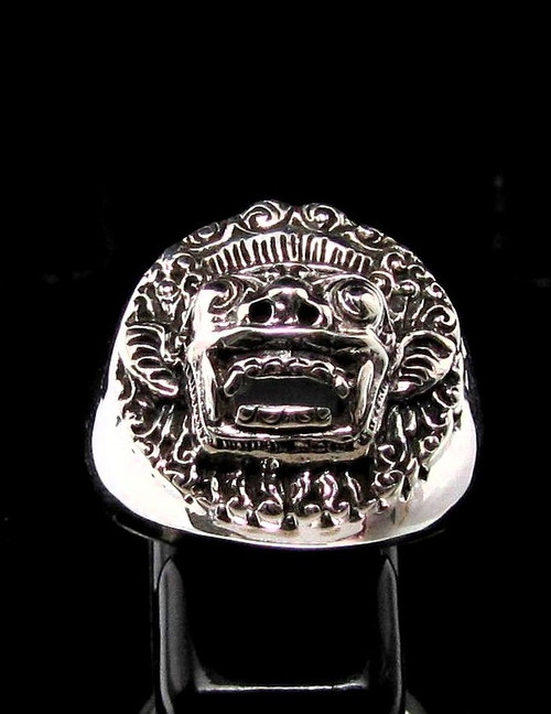 Sterling silver ring Barong Bali The King of Spirits Indonesia high polished and antiqued 925 silver