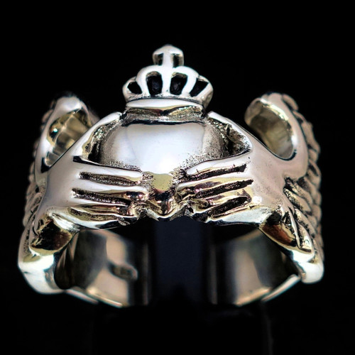 Sterling silver Claddagh ring Winged Irish Heart symbol of Love Ireland high polished and antiqued 925 silver