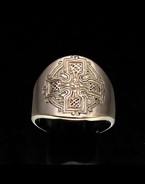 Sterling silver ring Celtic Cross Runes Irish Knot Ireland high polished 925 silver