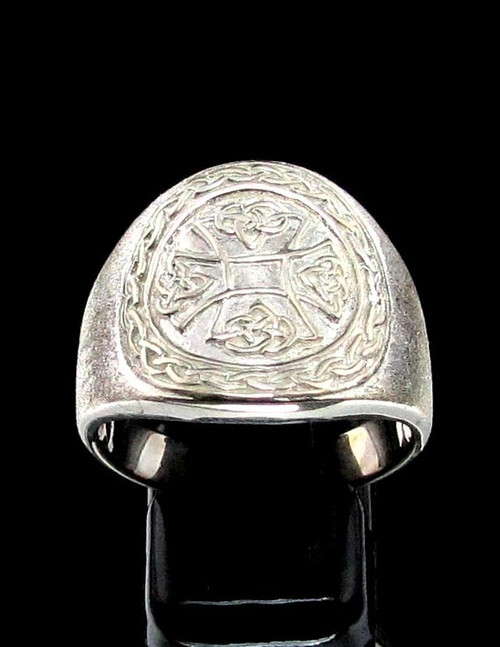 Sterling silver symbol ring Celtic Cross Irish Knot Ireland Matte finish and high polished 925 silver
