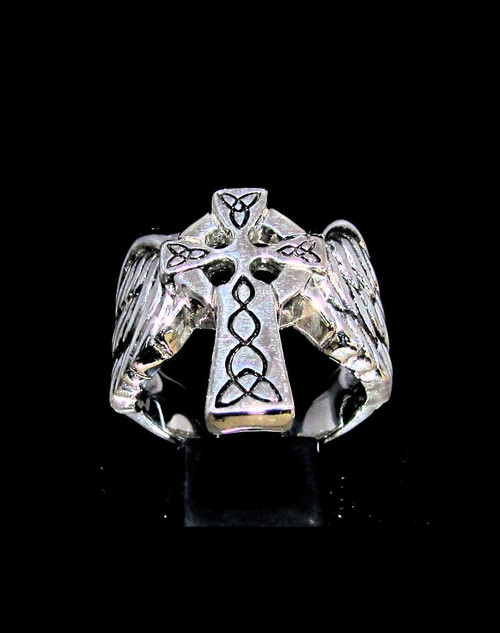 Sterling silver ring Winged Celtic Cross Knot Ireland high polished and antiqued 925 silver