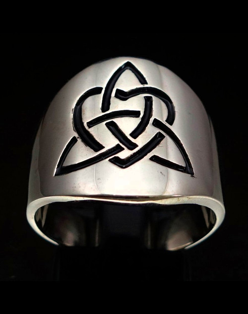 Sterling silver Triquetra symbol ring Celtic infinity Knot in Heart with Black enamel high polished 925 silver