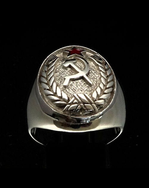 Sterling silver ring Hammer and Sickle with Red enamel Star Communist Symbol high polished 925 silver