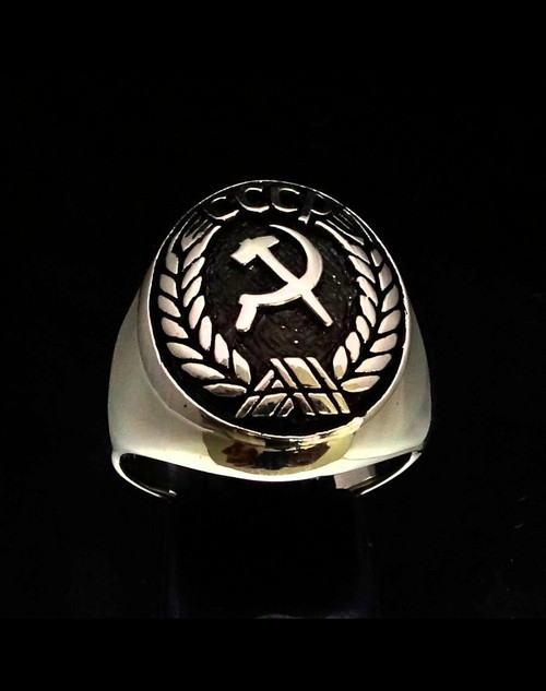 Antiqued Sterling silver Flag ring Hammer and Sickle Communism coat of arms CCCP 925 silver