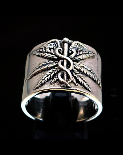 Sterling silver Band ring Caduceus Medical symbol high polished and antiqued 925 silver