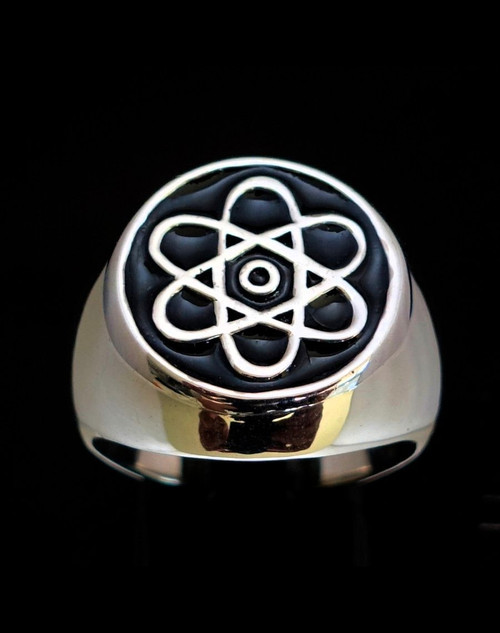 Sterling silver Symbol ring Atomic Nuclear Cloud with Black enamel high polished 925 silver