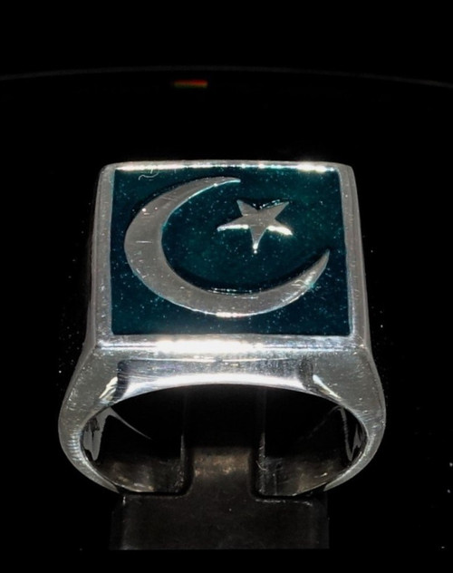 Sterling silver men's ring Crescent Moon and Star symbol of Islam on Green enamel 925 silver