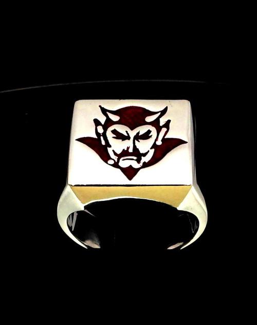 Sterling silver Occult ring Satan Lucifer Devil in Red enamel high polished 925 silver
