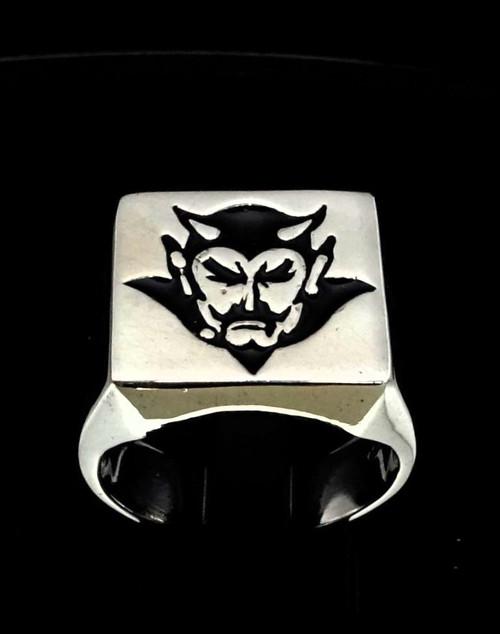 Sterling silver Occult men's ring Satan Lucifer Devil in Black enamel high polished 925 silver