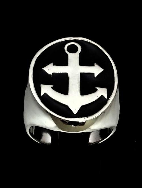 Sterling silver men's Sailor ring Big Anchor Navy symbol with Black enamel high polished 925 silver