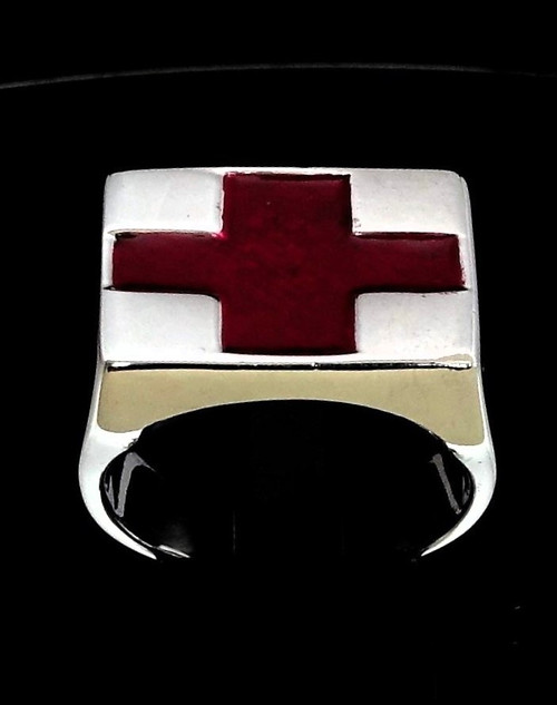 Sterling silver men's ring Red Cross Emergency symbol First Aid Flag high polished 925 silver