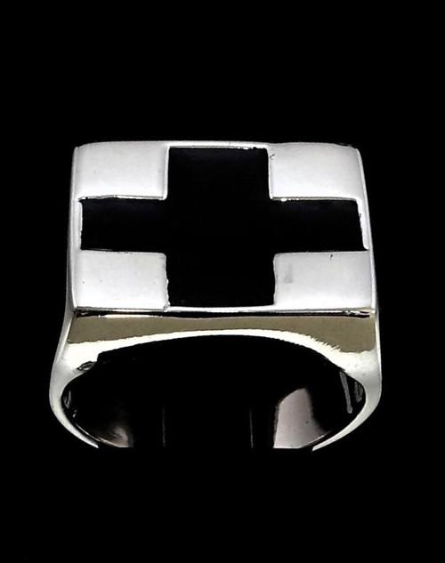 Sterling silver Flag ring Black Cross symbol in Black enamel high polished 925 silver