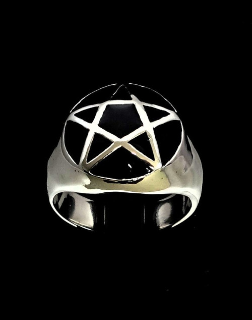 Sterling silver Celtic symbol ring Pentagram Occult Star on dome with Black enamel 925 silver