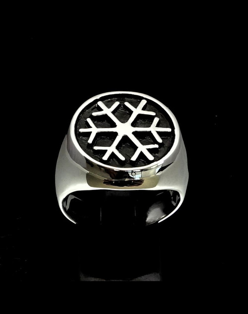 Antiqued Sterling silver Symbol ring Snowflake Winter Sport Games high polished 925 silver