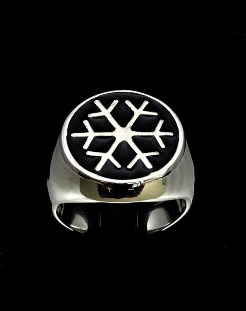 Sterling silver Symbol ring Snowflake Winter Sport Games with Black enamel high polished 925 silver