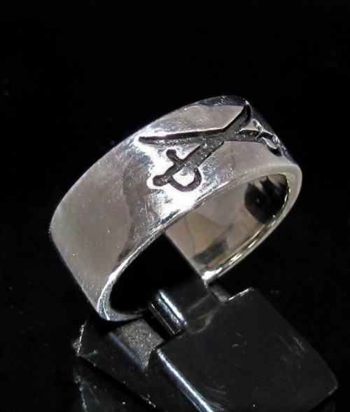 Sterling silver Band ring Crossed Swords Yankee Cavalry symbol high polished and antiqued 925 silver