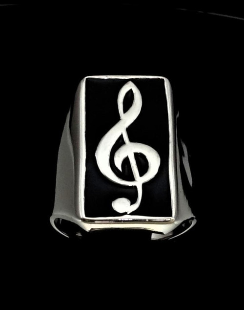 Sterling silver Music symbol ring Clef note with Black enamel high polished 925 silver men's ring