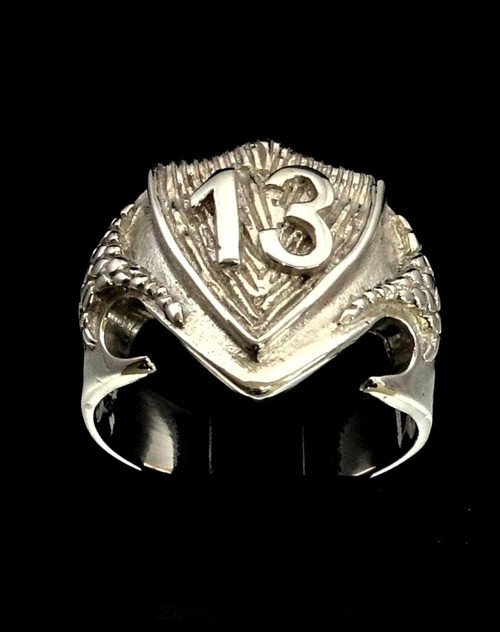 Sterling silver Lucky Charm ring 13 symbol on Medieval Dragon Shield high polished 925 silver