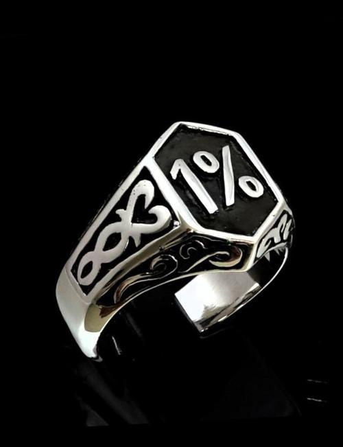 Antiqued Sterling silver biker ring 1 Percent symbol Celtic design high polished 925 silver