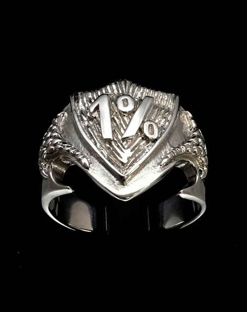 Sterling silver Biker ring One Percent symbol on Medieval Dragon Shield high polished 925 silver
