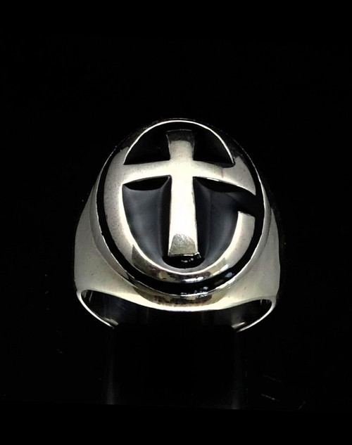 Sterling silver Religious symbol ring Church of England Anglican Cross with Black enamel 925 silver