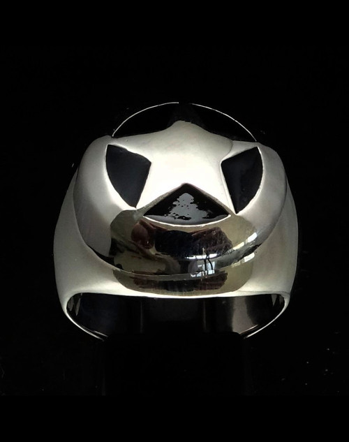 Sterling silver ring Wild West Cowboy Sheriff Star on dome with Black enamel high polished 925 silver