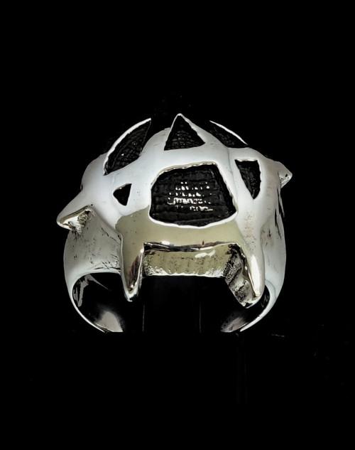 Antiqued Sterling silver men's ring Anarchy Punk symbol UK high polished 925 silver
