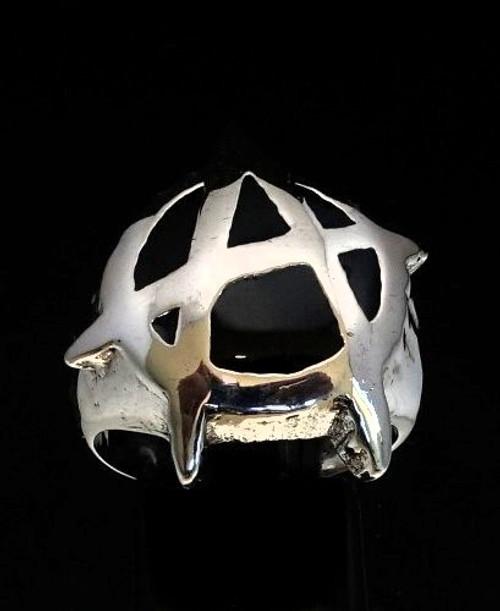 Sterling silver men's ring Anarchy Punk symbol UK with Black enamel high polished 925 silver