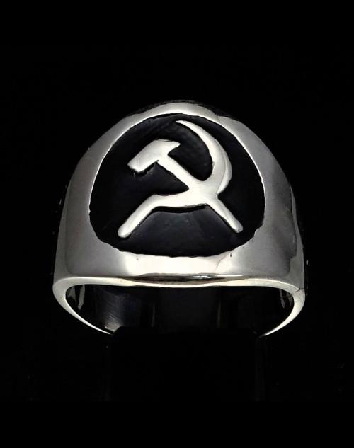 Sterling silver Communist symbol ring Hammer and Sickle USSR with Black enamel high polished 925 silver