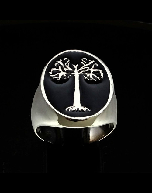 Oval Sterling silver ancient symbol ring Tree of Life with Black enamel high polished 925 silver