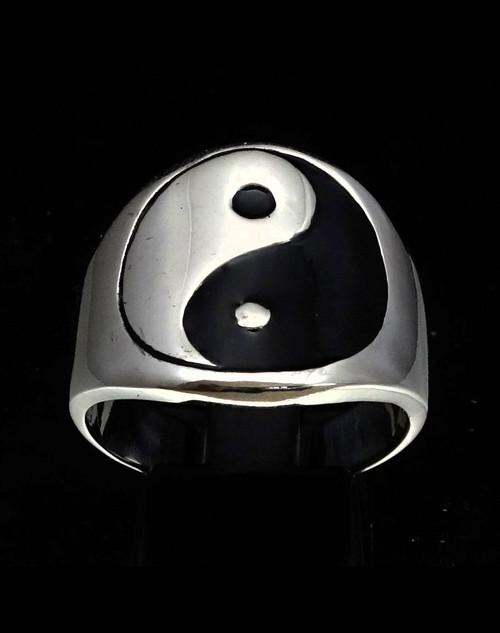 Sterling silver Symbol ring Yin and yang ancient Chinese philosophy with Black enamel 925 silver