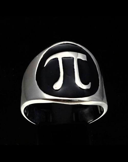 Sterling silver Mathematician symbol ring Pi ancient Greek letter with Black enamel 925 silver