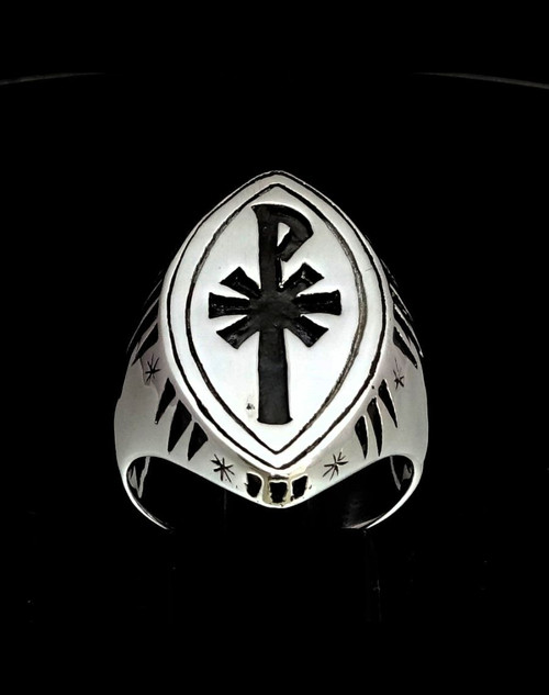 Sterling silver Religious symbol ring Chi Ro XP early Christian monogram Cross antiqued 925 silver
