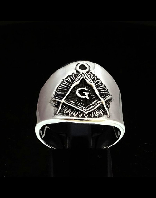 Sterling silver Freemasonry symbol ring Masonic letter G in Square and Compass antiqued 925 silver