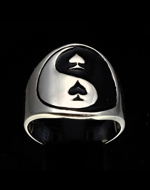 Sterling silver Card player symbol ring Yin Yang and Spades with Black enamel high polished 925 silver