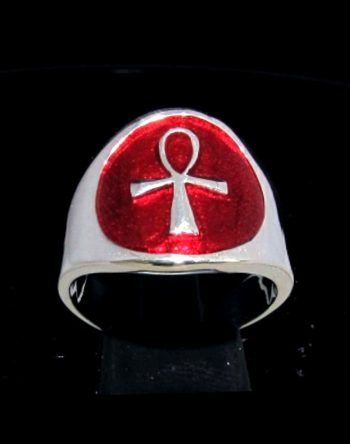 Sterling silver Symbol ring Ankh ancient Egypt Cross with Red enamel high polished 925 silver