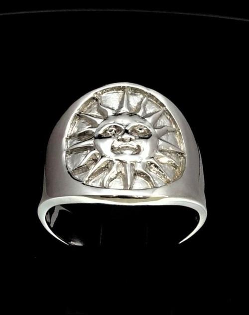 Sterling silver Maya symbol ring Aztec Sun ancient Mexico high polished 925 silver