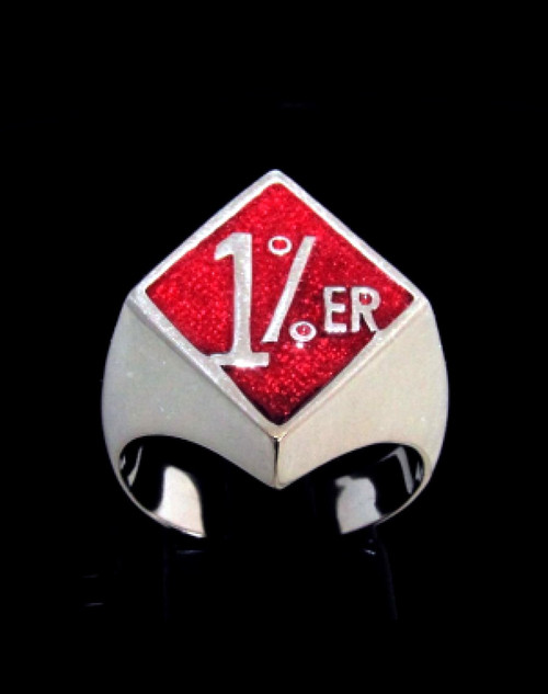 Diamond shaped Sterling silver Biker ring One percent symbol 1 percenter with Red enamel 925 silver