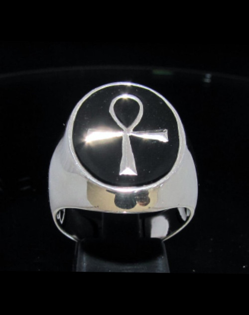 Oval Sterling silver Ankh symbol ring ancient Egypt Cross with Black enamel high polished 925 silver