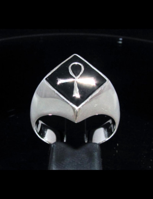 Diamond shaped Sterling silver ancient symbol ring Egyptian Ankh on Black enamel high polished 925 silver